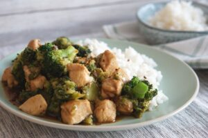 Chicken and broccoli with rice