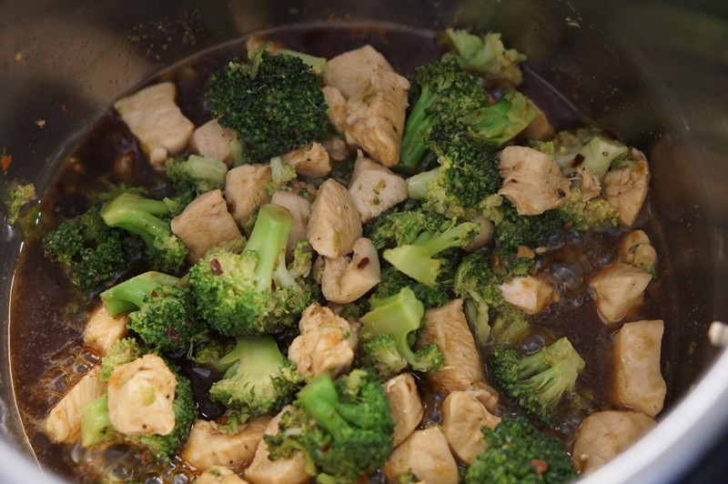 Chicken and broccoli in a pot