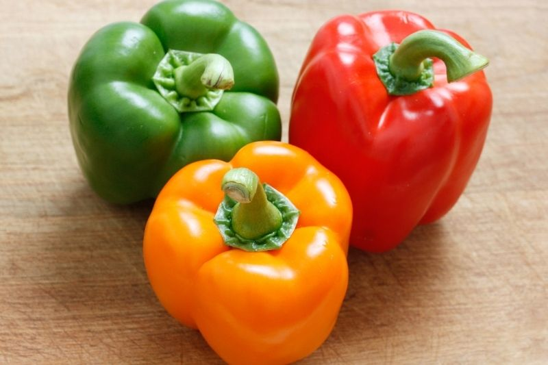 green, red, and yellow bell peppers