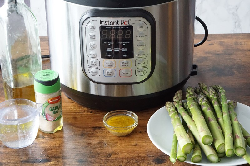 Instant Pot, Asparagus and Ingredients