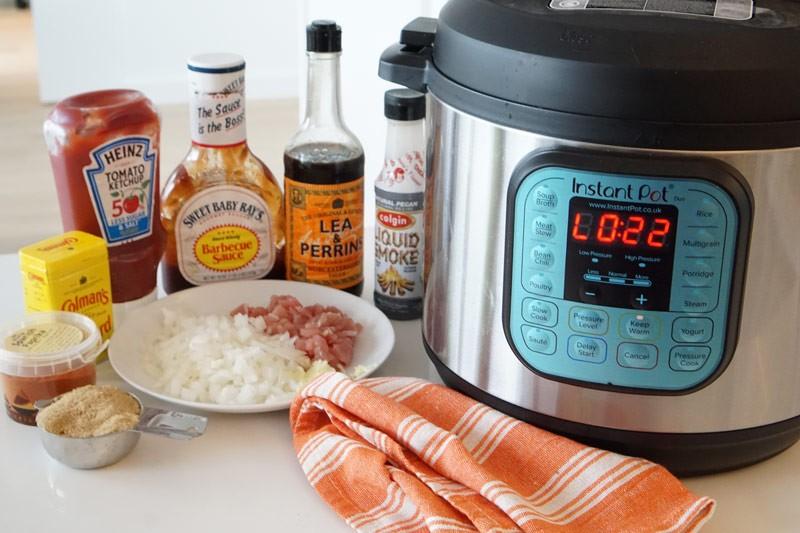 instant pot with ingredients