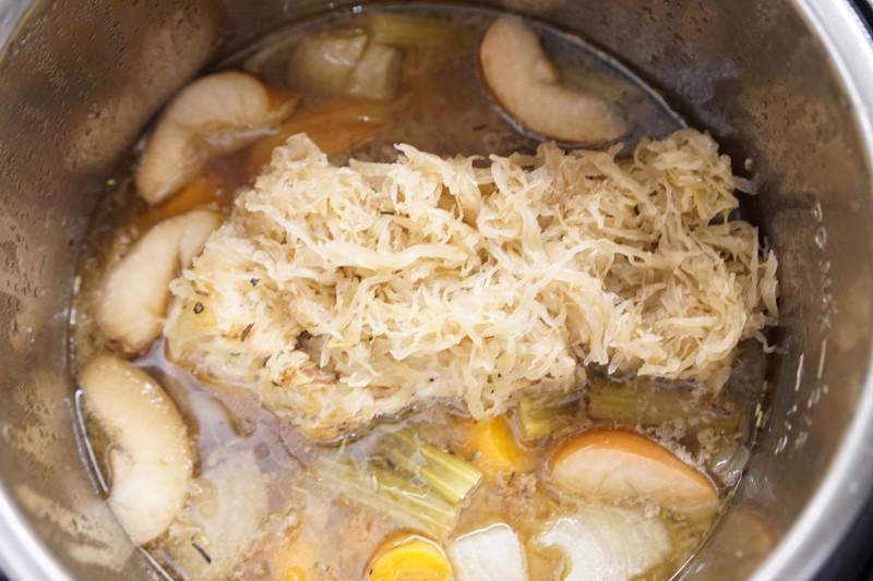 pork and sauerkraut in a pot