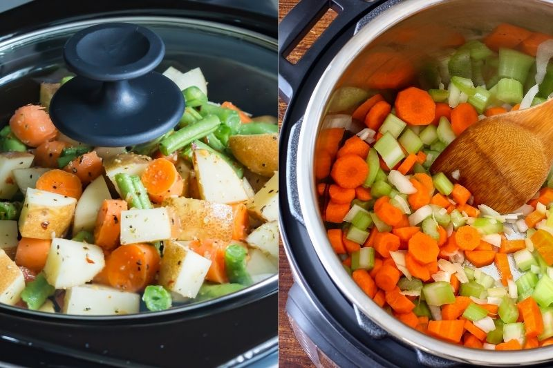 slow cooker and pressure cooker with carrots and onions