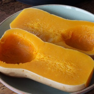 Cooked butternut squash halves