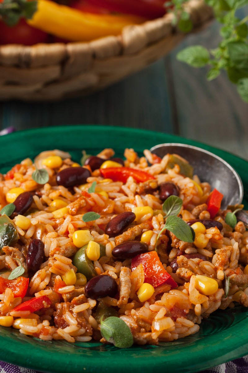 plate of instant pot spanish rice