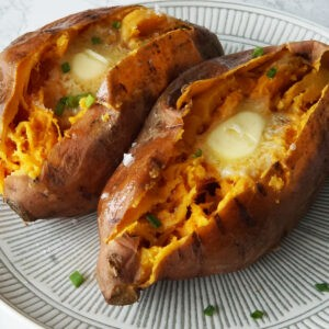 Cooked sweet potatoes on a plate