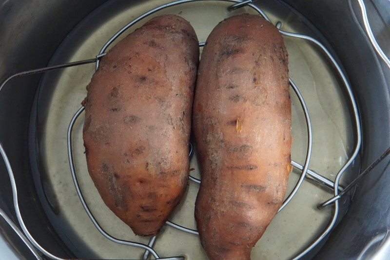 Raw sweet potatoes in the Instant Pot