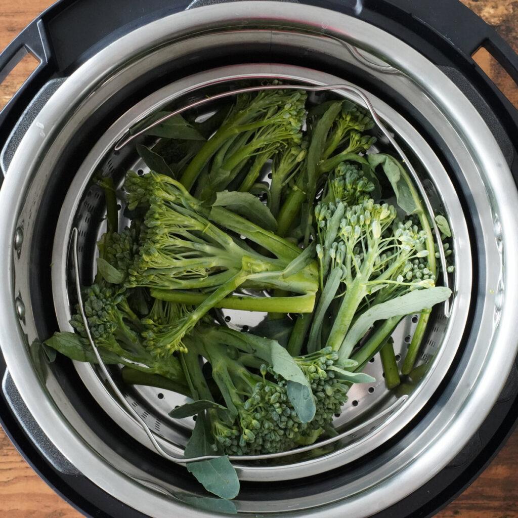 broccoli in steam basket